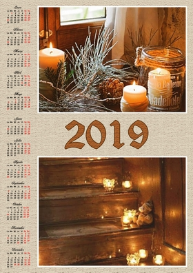 2019 vertical yearly calendar example 1